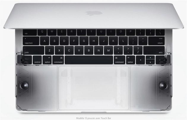 Emplacement des deux haut-parleurs sur le MacBookPro13pouces. Cliquer pour agrandir
