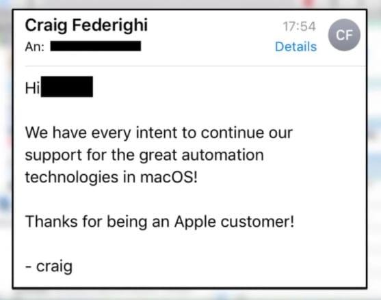 Craig Federighi : Apple n'a pas enterré les scripts dans macOS