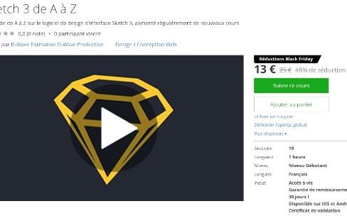 Promo: une formation pour apprendre à créer des interfaces avec Sketch pour 13€