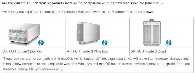 Akitio, l'un des premiers accessoiristes à avoir proposé des périphériques Thunderbolt3. Une partie de sa gamme est ainsi considérée incompatible avec macOS et nécessitera une mise à jour matérielle. Cliquer pour agrandir