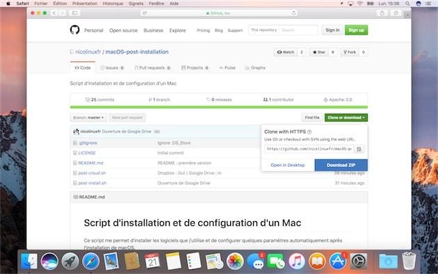 Si vous n'êtes pas familier avec GitHub, vous pouvez télécharger l'intégralité d'un projet en cliquant sur le bouton vert Clone or download à droite et sur Download ZIP. Cliquer pour agrandir