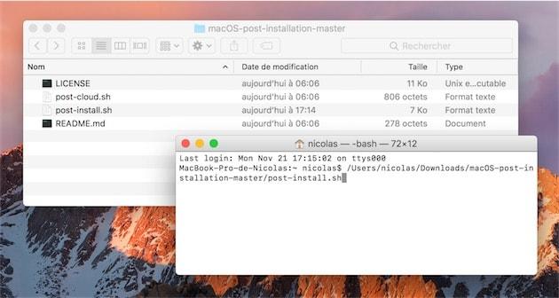 Lancement du script : il suffit de le glisser dans une fenêtre de terminal et de valider avec la touche entrée. Cliquer pour agrandir