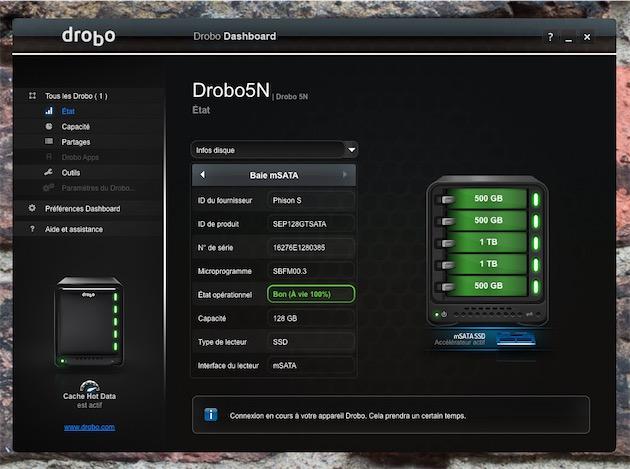 La gestion des disques dans le Drobo Dashboard.