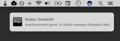 Une « alerte jaune » du Drobo Dashboard.