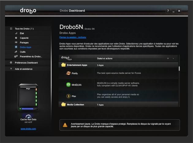 Un extrait du catalogue des Drobo Apps.
