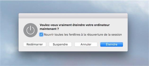 cette boîte de dialogue n'est pas accessible sur les nouveaux MacBook Pro Touch Bar.