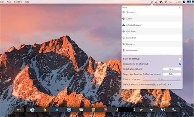 Touch Launcher en action sur la Touch Bar en bas. En haut, le menu qui permet aussi de supprimer les apps inutiles. Cliquer pour agrandir