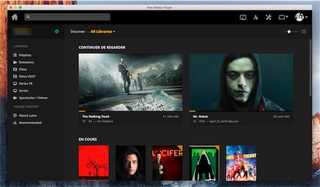 Écran d'accueil de Plex Media Player en mode fenêtré. Cliquer pour agrandir