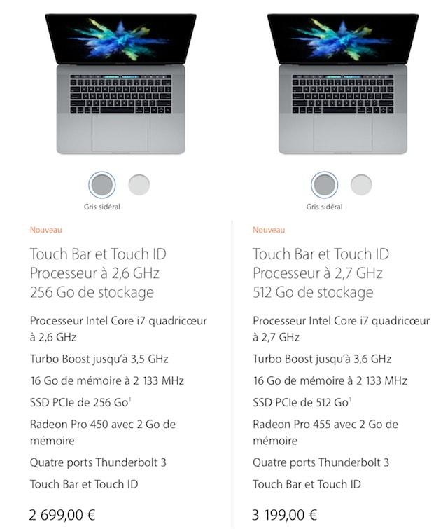 La gamme actuelle de MacBookPro15pouces: c'est l'entrée de gamme, celui à 2699€ tout de même, qui est testé ici. Cliquer pour agrandir
