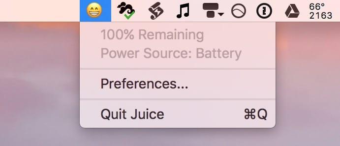 juice affiche l tat de la batterie des mac avec des emojis macgeneration. Black Bedroom Furniture Sets. Home Design Ideas