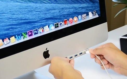 Ce hub ajoute 4 ports USB 3 en façade sur les iMac