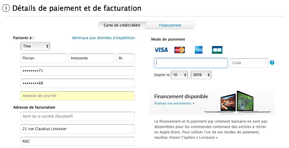 l 39 apple store supprime le paiement par virement bancaire macgeneration. Black Bedroom Furniture Sets. Home Design Ideas
