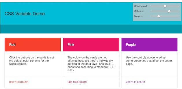 Google a publié une page qui présente l'un des intérêts des variables CSS: changer la couleur d'un élément en un clic.