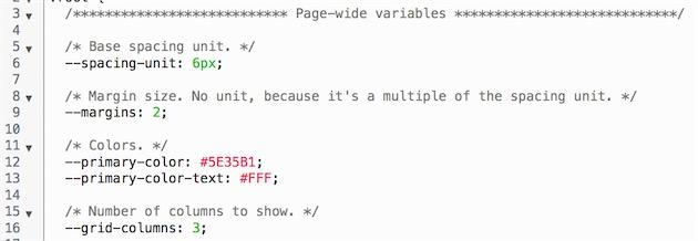 Quelques exemples de variables CSS: des espacements, un nombre de colonnes ou encore des couleurs.