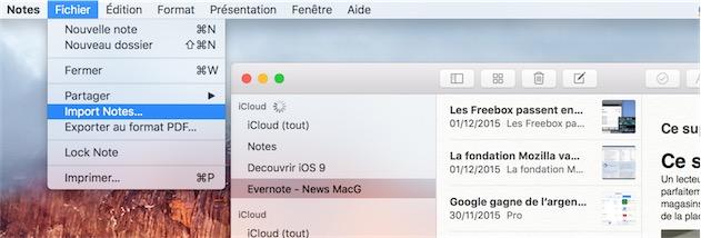 La fonction d'import de la bêta de Notes, pas encore traduite en français.