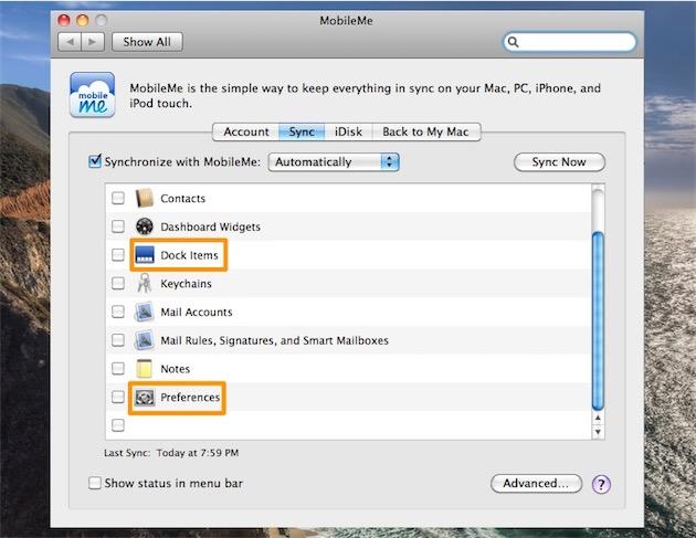 Synchroniser les préférences des logiciels, c'était possible avec MobileMe… en 2008.