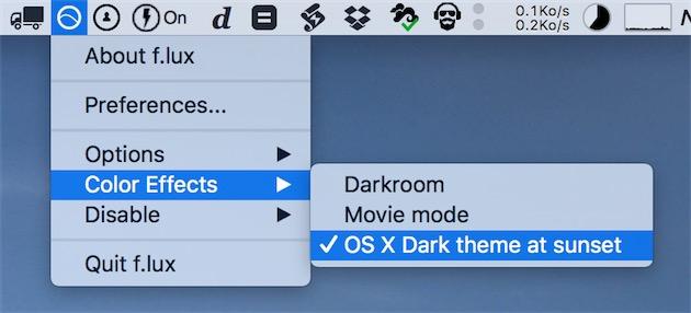 En activant cette option, f.lux passe la barre de menus, les menus ou encore le Dock en noir le soir.