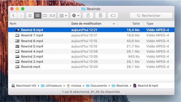 Rewind ne sauvegarde vraiment de vidéo en local que lorsque vous le demandez. Ici, on a une série d'extraits qui durent au maximum une minute.