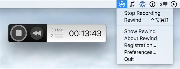 L'interface très minimale de Rewind. À chaque fois que l'on appuie sur l'icône ou sur la commande dans le menu, le logiciel sauvegarde en local une vidéo avec les 60dernières secondes.