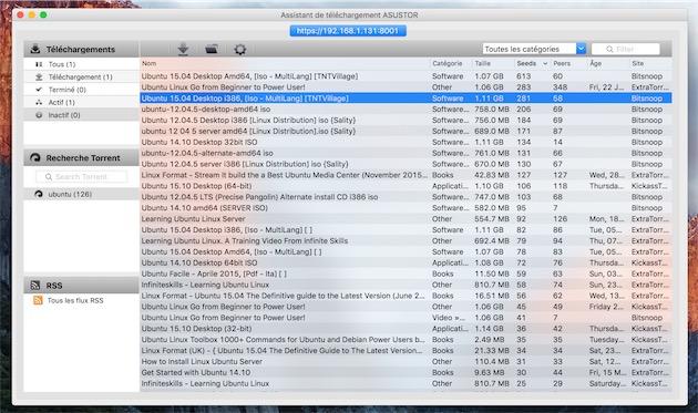 L'assistant de téléchargement fourni par Asustor, ici sur Mac.