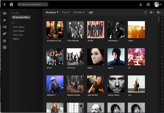 Plex peut gérer tous vos médias : ici la musique.