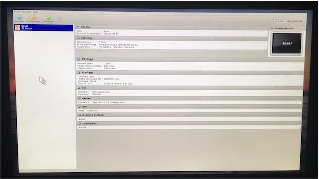 VirtualBox: sur la télévision du salon, cette interface… détonne.