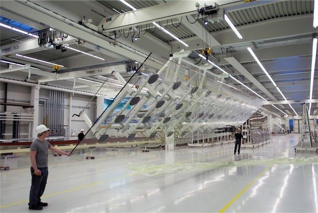 Les panneaux de verre du futur Campus 2 d'Apple à Cupertino, fabriqué par l'entreprise allemande Seele. Image Apple.