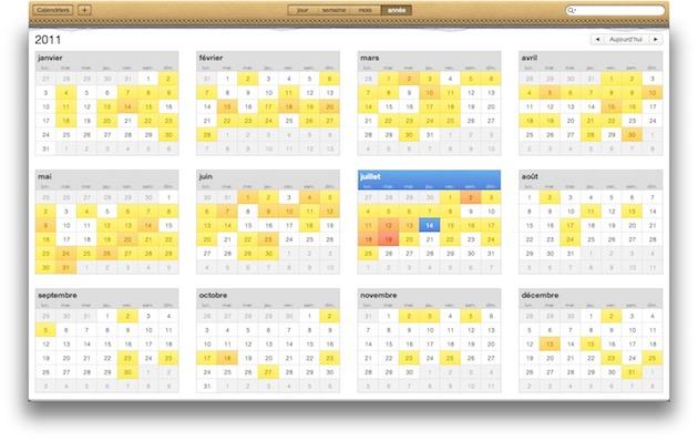 Le calendrier d'OSX Lion — Cliquer pour agrandir