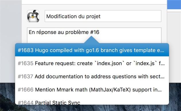 Autocomplétion également pour les «issues» listées sur chaque projet GitHub.