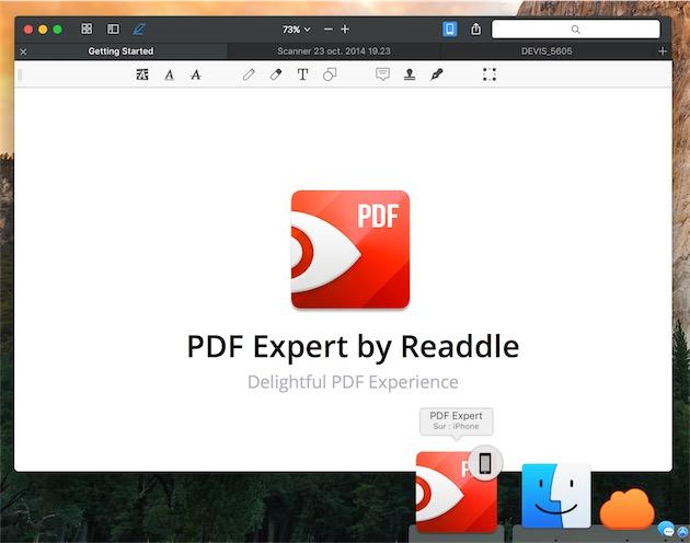 Sur Mac, PDF Reader est capable d'ouvrir un document affiché sur un appareil iOS via Handoff. Ici, l'icône est affichée dans le Dock d'OSX. — Cliquer pour agrandir