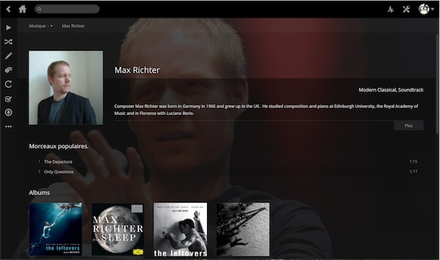 L'interface web de Plex, affichant la fiche d'un artiste.
