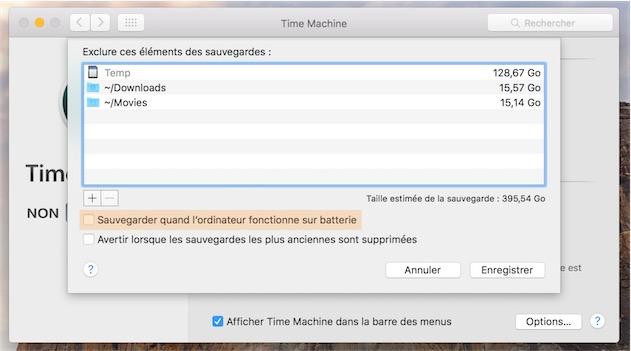 Si vous utilisez un Mac portable et que vous utilisez cette astuce, vérifiez que la sauvegarde ne se fait pas sur la batterie pour limiter l'impact sur l'autonomie. Dans les Préférences Système, ouvrez le panneau Time Machine, puis cliquez sur «Options…» en bas à droite de la fenêtre pour accéder au réglage.