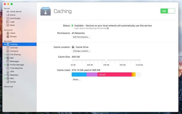 Les options de cache d'OSX Server.