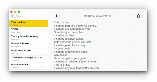Notes en action, ici sur OS X.