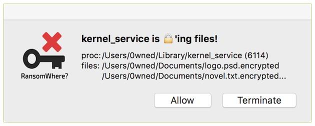 Voici le message qui sera affiché en cas de détection d'un ransomware.