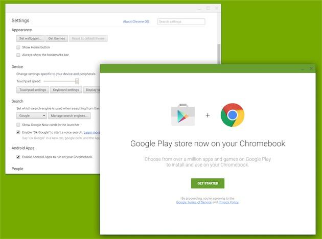 Une option active l'installation des apps Android sur ChromeOS.