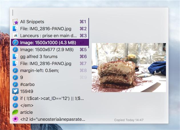 L'une des nouveautés d'Alfred3: son gestionnaire de presse-papier n'est plus réservé au texte. Ici, une image est stockée.