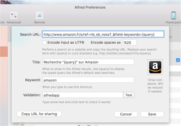Ajout d'une option pour les recherches web: on peut spécifier comment les espaces sont encodés.