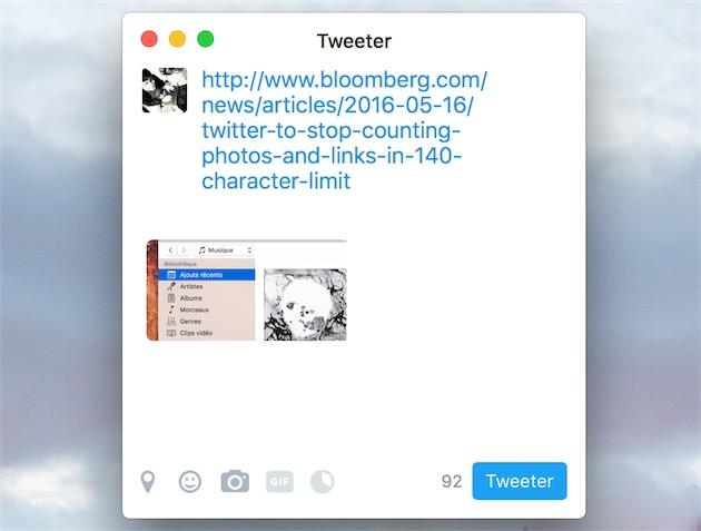 Un tweet avec une image et un lien retire directement près de 50caractères sur les 140autorisés. Si la rumeur voit juste, on devrait bientôt avoir tous ces caractères pour le texte qui accompagne liens et images.