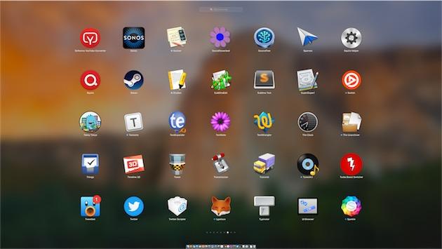 Configuration par défaut du LaunchPad sur un écran 27pouces : cinq lignes de sept colonnes d'icônes. — Cliquer pour agrandir