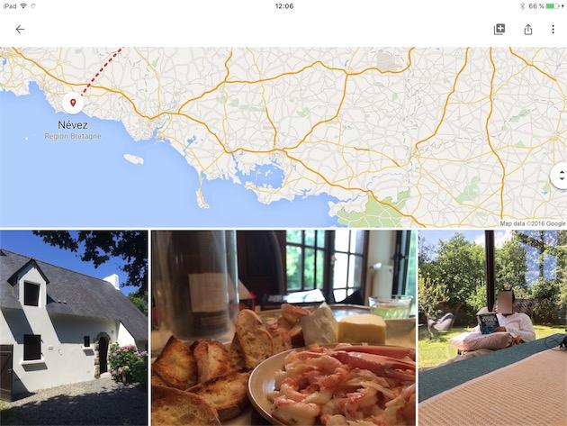 Album de vacances généré automatiquement par Google Photos, avec une carte qui indique les déplacements.