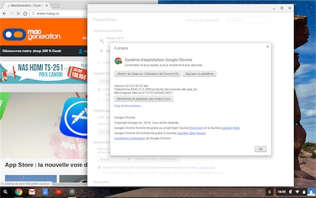 Chromebook à jour, avec plusieurs fenêtres, ce qui n'était pas possible au départ. — Cliquer pour agrandir
