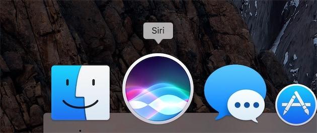 Par défaut, Siri s'affiche dans le Dock, en plus de la barre des menus. Un clic sur l'icône lance l'assistant.