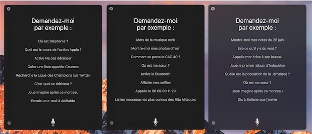 Comme sur iOS, macOS propose de nombreux exemples pour inciter l'utilisateur à tester des commandes vocales. — Cliquer pour agrandir