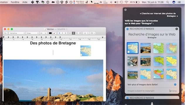 Ici, on glisse un résultat de recherche (une image en l'occurence) depuis Siri, vers un document TextEdit. — Cliquer pour agrandir