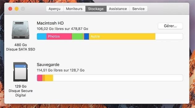 On accède à cette fenêtre de gestion en passant par celle «À propos de ce Mac».