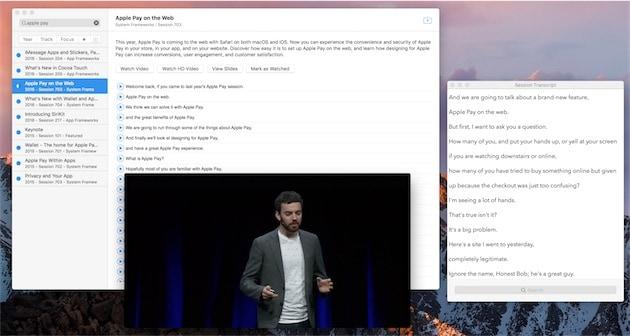 L'app macOS officieuse dédiée à la WWDC, avec le transcrit de l'une des sessions.