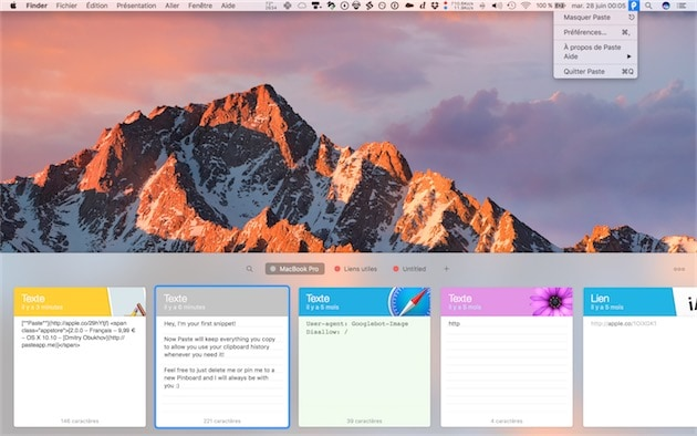 Paste sur un MacBook Pro15pouces. — Cliquer pour agrandir