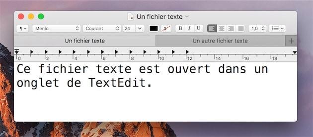 Deux onglets dans TextEdit — Cliquer pour agrandir