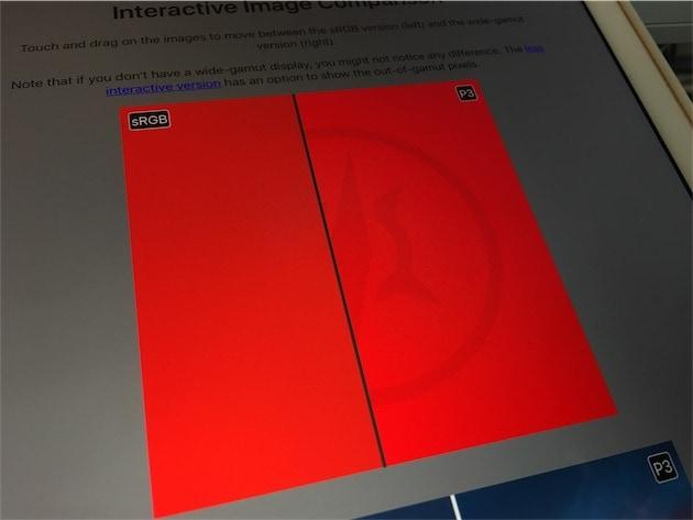 Sur cet iPad Pro9,7pouces doté d'un écran P3, la différence entre les deux images est parfaitement visible. — Cliquer pour agrandir